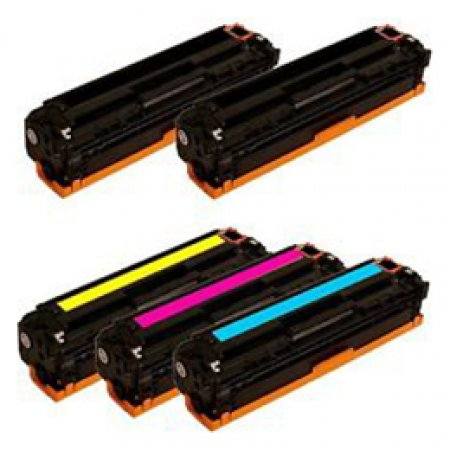 Kit 5 Toner per HP 2 X CB540A, 1 X CB541A, 1 X CB542A, 1 X CB543